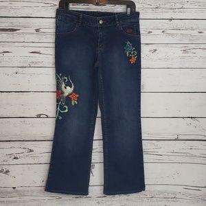 Harley Davidson Embroidered Eagle Floral Jeans 6P